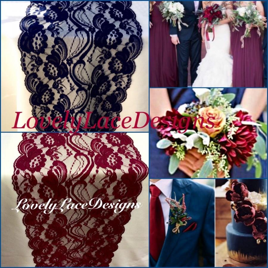 Navy Burgundy Lace Table Runners3ft 10ft Long X 7in Widewedding