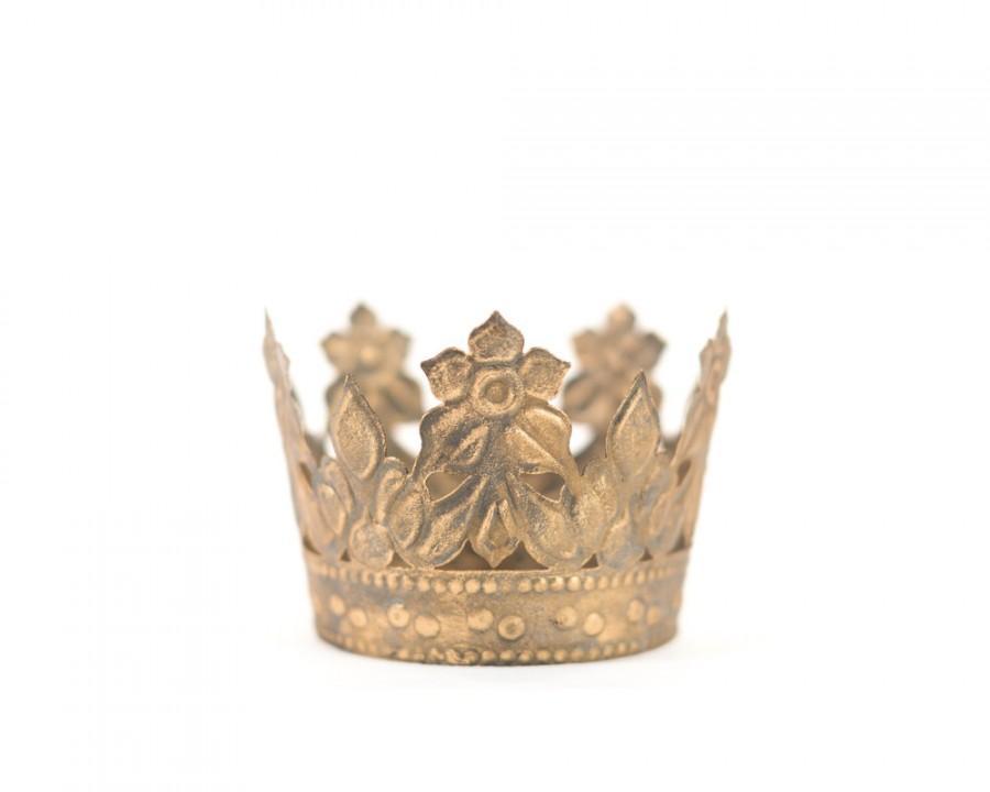 Свадьба - Gold Crown Cake Topper, Antique Gold Crown, Mini Crown