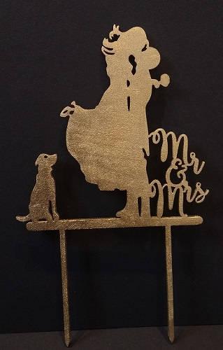 Свадьба - Mr and mrs wedding cake topper with dog, wedding cake topper, wood cake topper,  cake topper, various colours, cake decoration, wedding