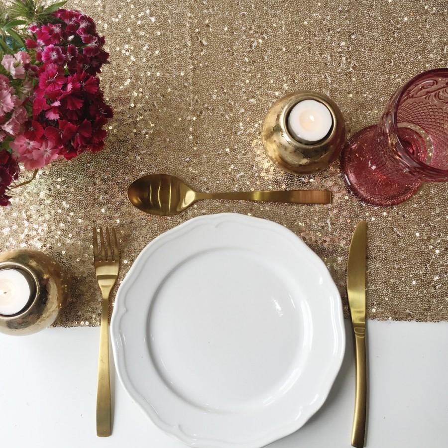 Mariage - Antique Gold Sequin Table Runner