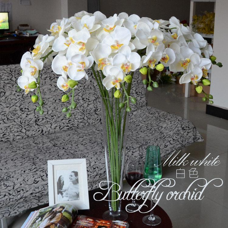 Mariage - 5pcs White Orchids Artificial Flowers For Wedding Table Centerpieces Table Garland Flowers Butterfly Orchid Phalaenopsis