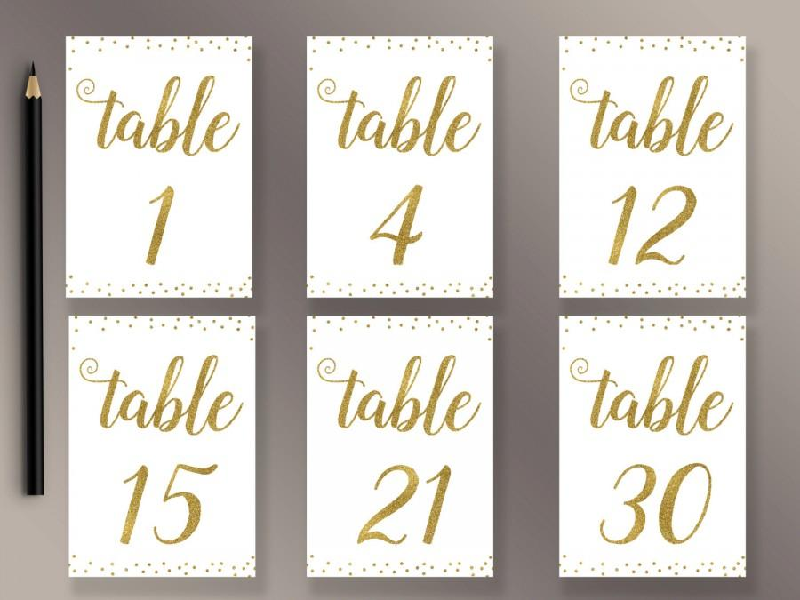 photograph relating to Printable Table Number referred to as Marriage Desk Quantities 1-30 Printable, Gold Confetti Desk