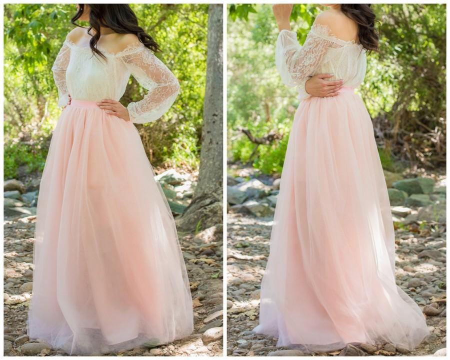 Ready to ship blush pink skirt full length floor for Full skirt wedding dress