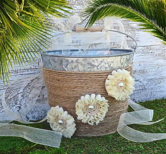 Mariage - Wedding Flower Girl Basket, Rustic Wedding, Burlap Ribbon, Ivory Flowers, Wedding Basket ,Country Wedding