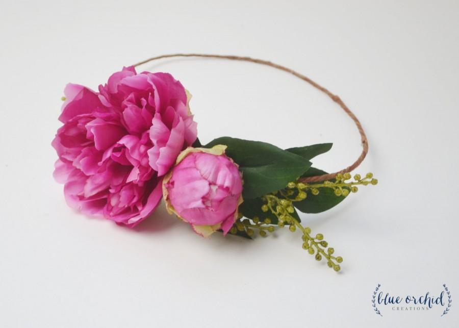 Mariage - Peony Crown, Hot Pink Peony Crown, Flower Crown, Silk Peony Crown, Silk Flower Crown, Floral Crown, Flower Headpiece, Pink Peony Crown, Boho