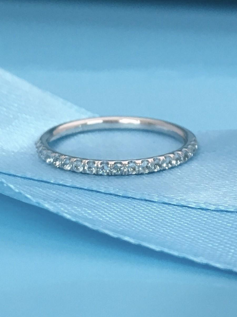 Wedding - 14K Aquamarine Half Eternity Band 1.6mm Aquamarine Infinity Ring 14K Aquamarine Matching Wedding Band 14K Light Blue Birthstone Stacking
