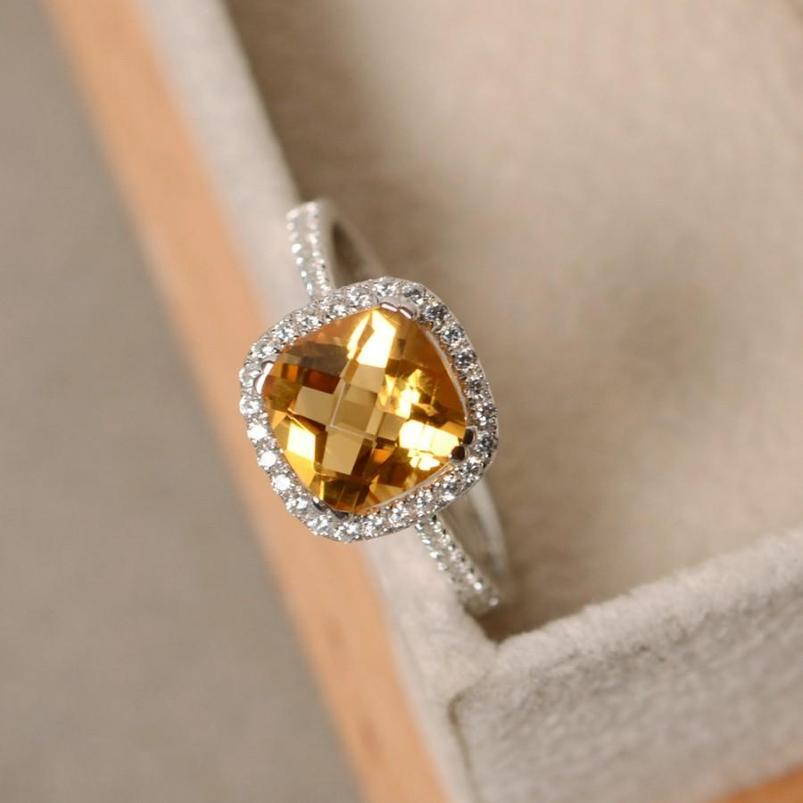 Свадьба - Citrine ring, cushion cut, yellow gemstone, engagement ring