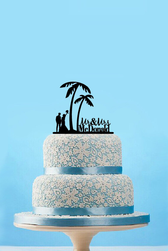 Hochzeit - Rustic Wedding Cake Topper-Beach Wedding Silhouette Cake Topper-Mr and Mrs Cake Topper with Last Name-Palm Tree Cake Topper-Custom Topper