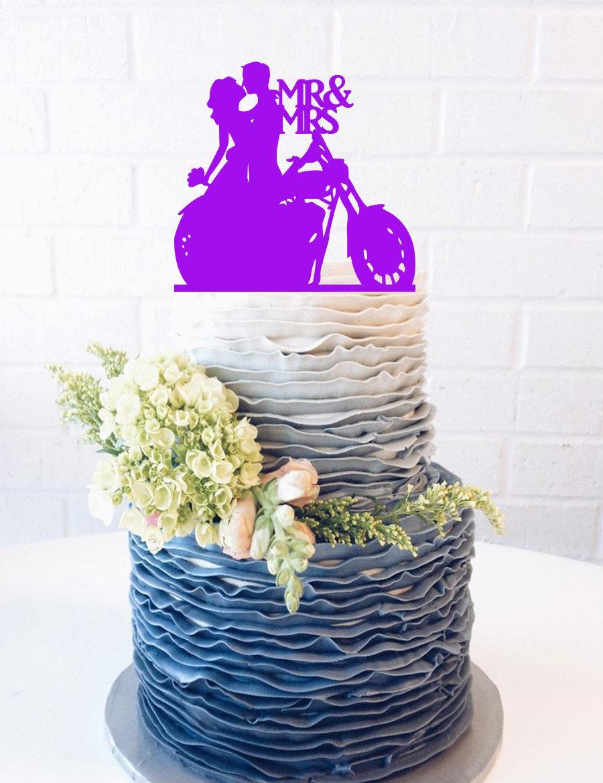 Hochzeit - Motorcycle Couple Wedding Cake Topper Motorcycle Cake Topper wedding cake topper bride and groom silhouette biker harley rider bike chop b10