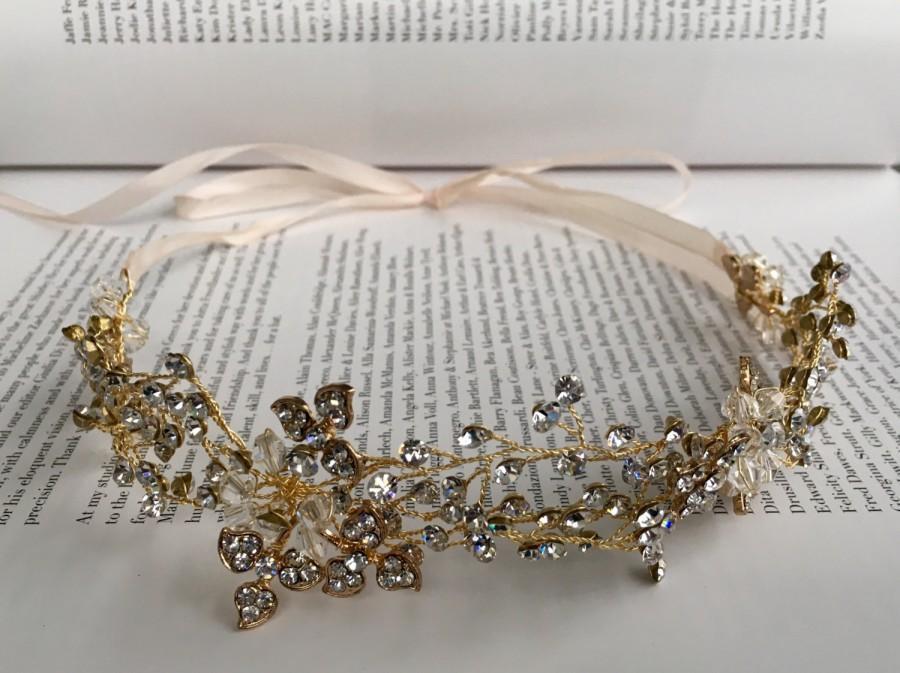 Свадьба - Diamanté and Gold Leaf Headdress