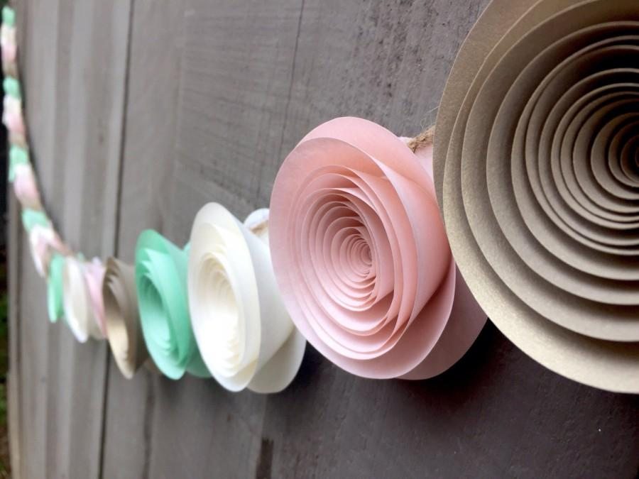Paper Flower Garland Pink Gold Cream Mint Green