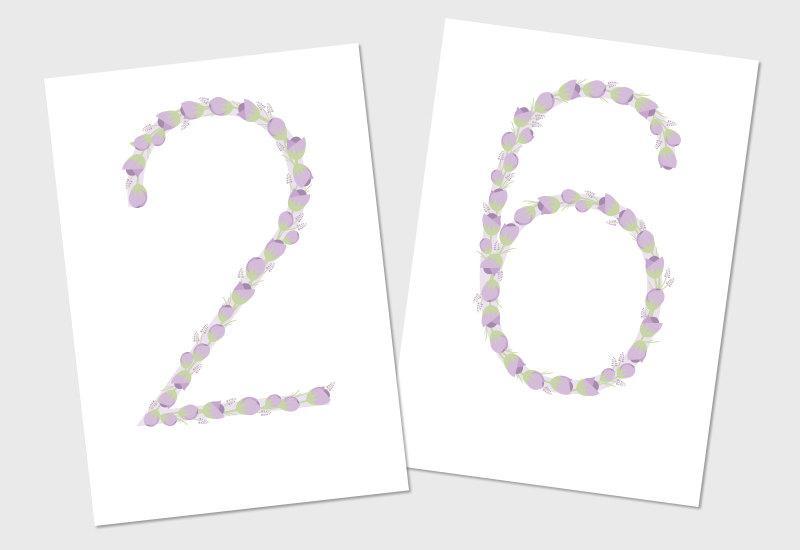 Mariage - Purple Printable Flower Table Numbers 1 - 10