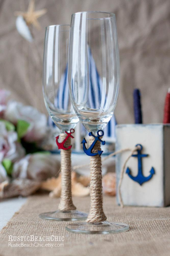 Mariage - Nautical Personalized Wedding Champagne Glasses, Beach Wedding Glasses, Anchor Custom Wedding Glasses, Engraved Toasting Glasses Set 2 pcs
