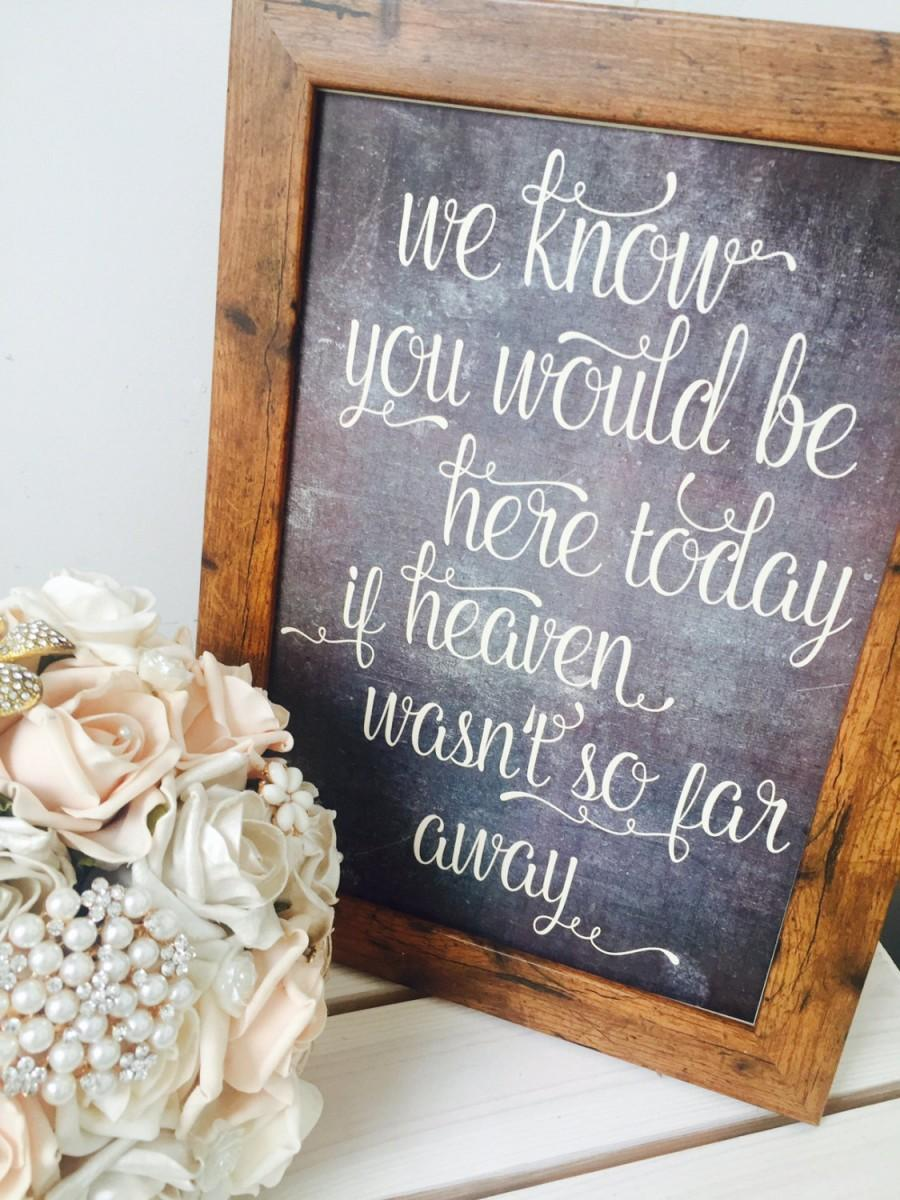 Свадьба - We know you would be her today if Heaven wasn't so far away- Rustic unframed A4 chalkboard effect memorial sign