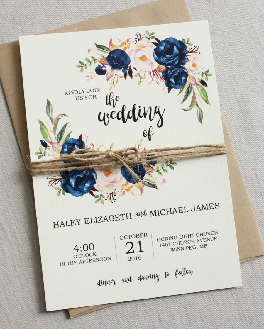 Rustic Navy Wedding Invitation Printable, Modern, Bohemian Wedding ...