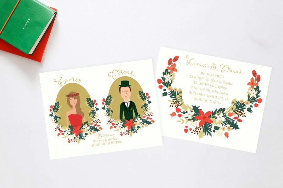 Hochzeit - Christmas Forest Celebration Wedding Invitation Suite // Couples Portrait // Printable Wedding Invites // DIY Wedding Invites