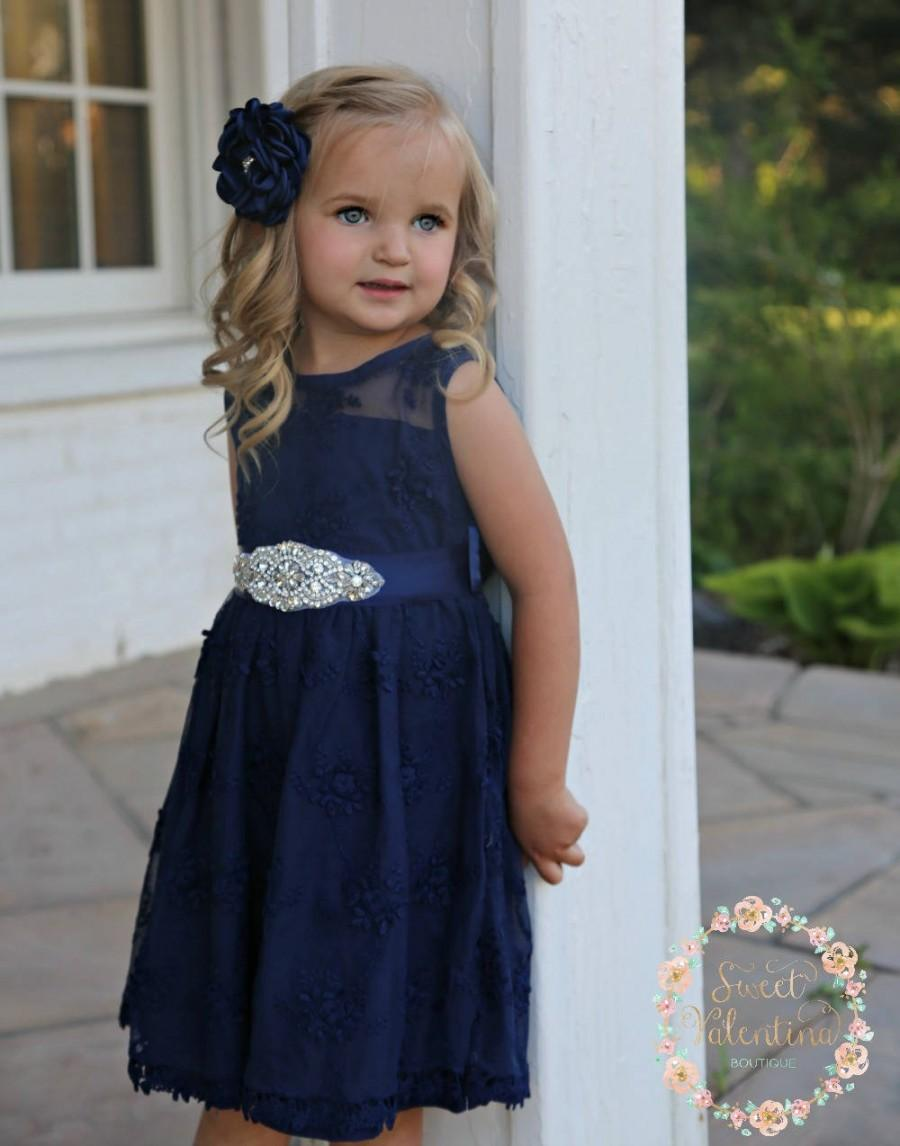 Navy Lace Flower Girl Dresses