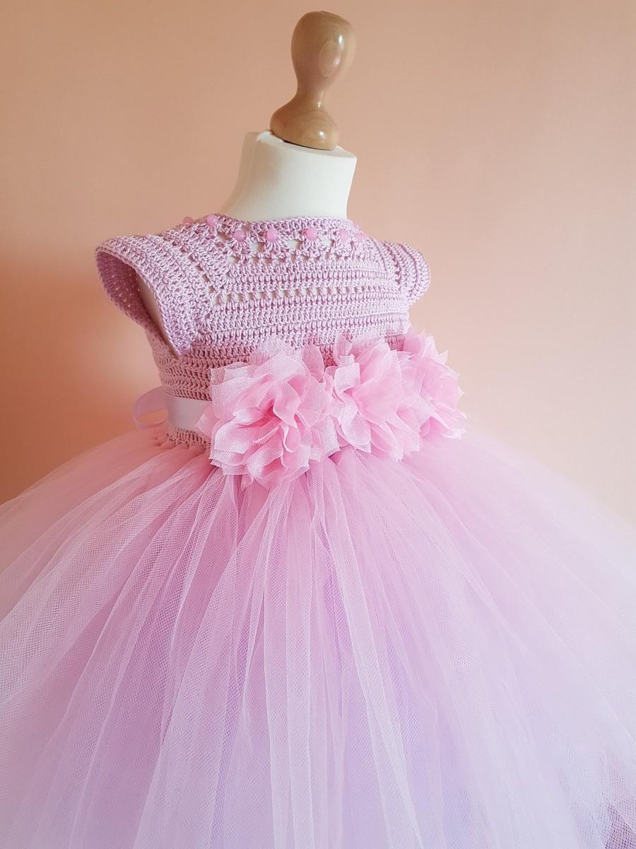 Свадьба - tutu dress, pink and lavender tutu dress, wedding dress, flower girl dress, bridesmaid dress,crochet dress, baptism dress,crochet yoke dress