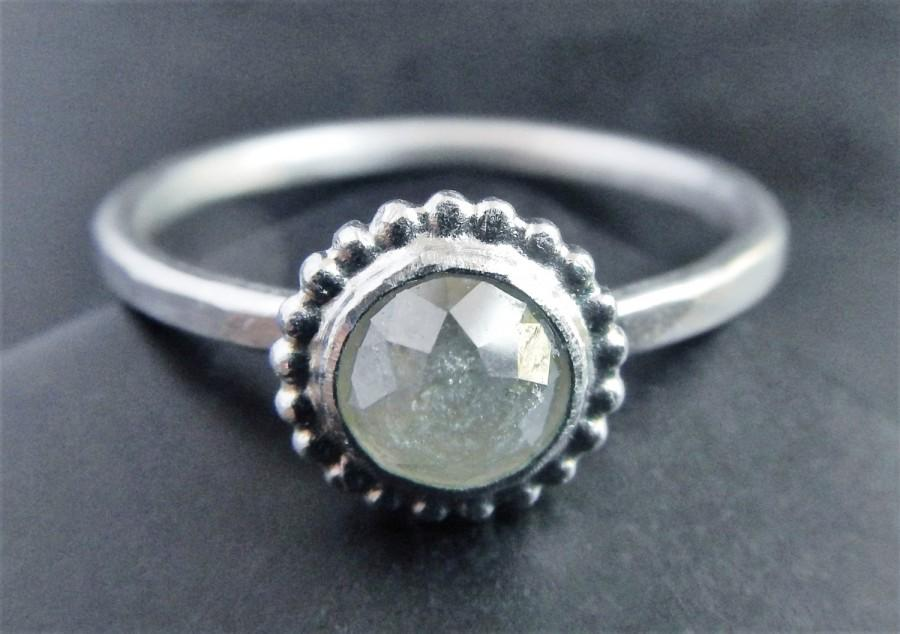 Rose Cut Champaign Diamond Engagement Ring Sterling Silver Diamond
