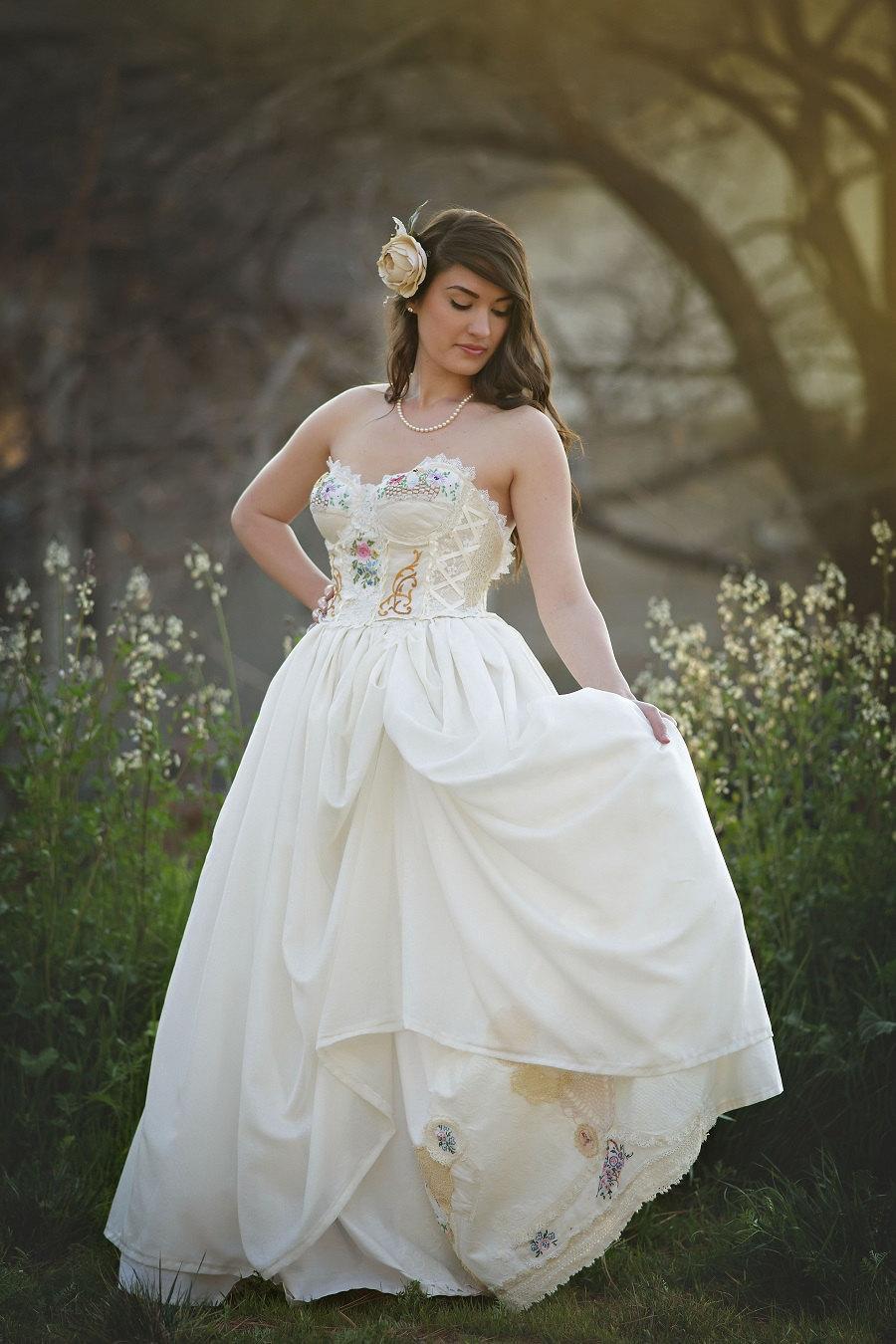 Wedding - Storybook Romance Wedding Dress, Unique Upcycled Vintage Wedding Dress, Garden Wedding Dress,Woodland Wedding Dress,Lace  Corset Dress