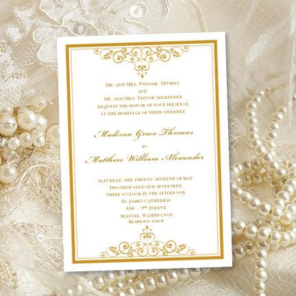"Hochzeit - Vintage Wedding Invitations ""Gold"" Printable Template Edit Word.doc Instant Download ALL COLORS Available DIY You Print"