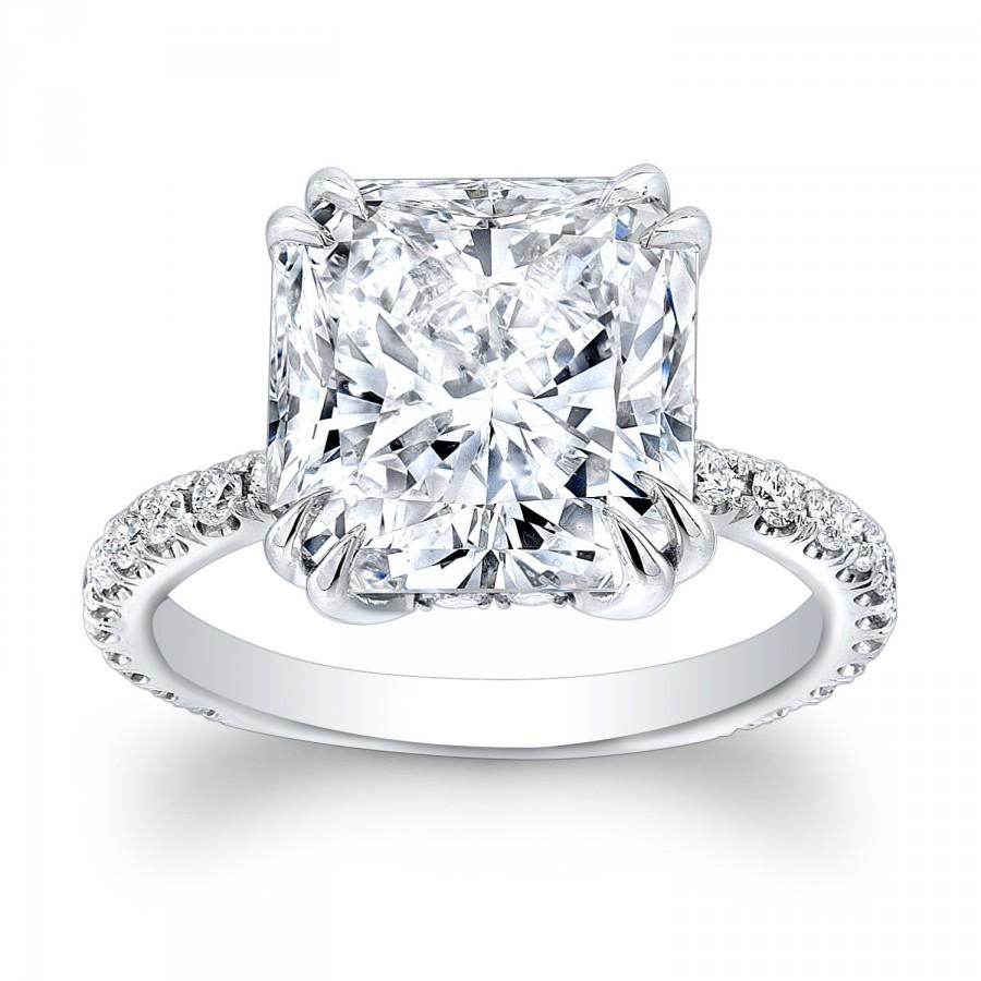 Свадьба - Ladies 14kt white gold engagement ring with 2.60ct Cushion White Sapphire Center and 0.30ctw G-VS2 diamonds
