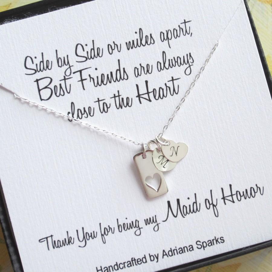 Maid Of Honor Gift, Heart Necklace With Initial, Maid Of