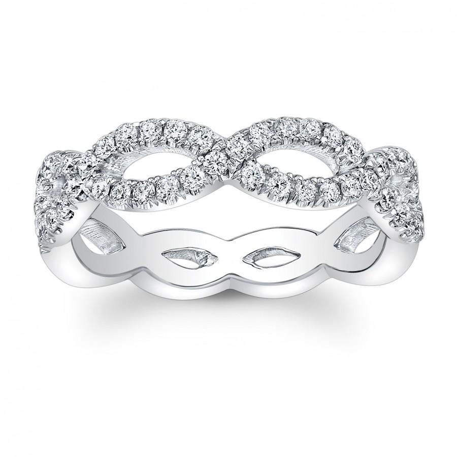 Mariage - Ladies Platinum antique diamond infinity wedding band 0.33 ctw G-VS2 diamond quality
