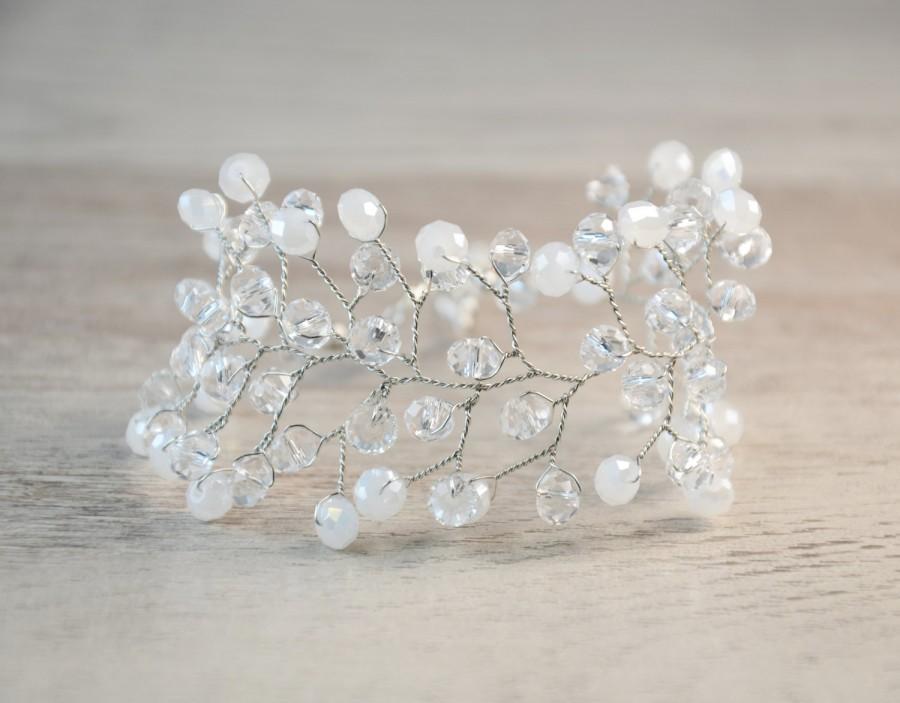 زفاف - Bridal crystal bracelet Silver bridal bracelet White crystals bracelet Wedding jewelry Bridal Hair Vine art deco vintage boho bracelet beads