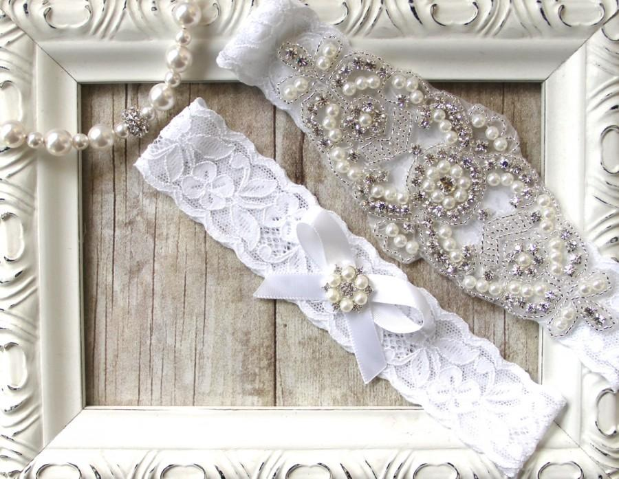 Свадьба - CUSTOMIZE YOUR GARTER - Bridal Garter, Wedding Garter Set, Stretch Lace Garter, Rhinestone Crystal Bridal Garter