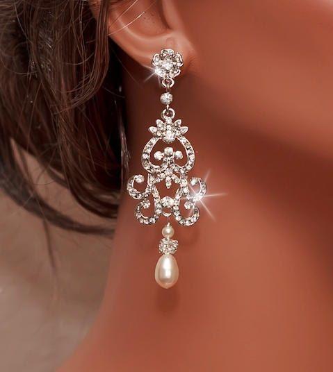 Mariage - NICOLA - Vintage Inspired Rhinestone And Swarovski Pearl Bridal Chandelier Earrings In Silver