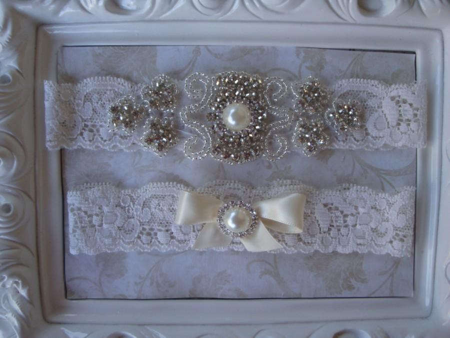 Свадьба - Wedding Garter - Bridal Garter - Crystal Rhinestone and Pearl Garter and Toss Garter Set