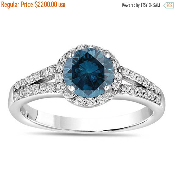 Mariage - ON SALE Blue Diamond Engagement Ring 1.36 Carat Fancy Blue & White Diamond Engagement Ring 14K White Gold Halo Certified Handmade