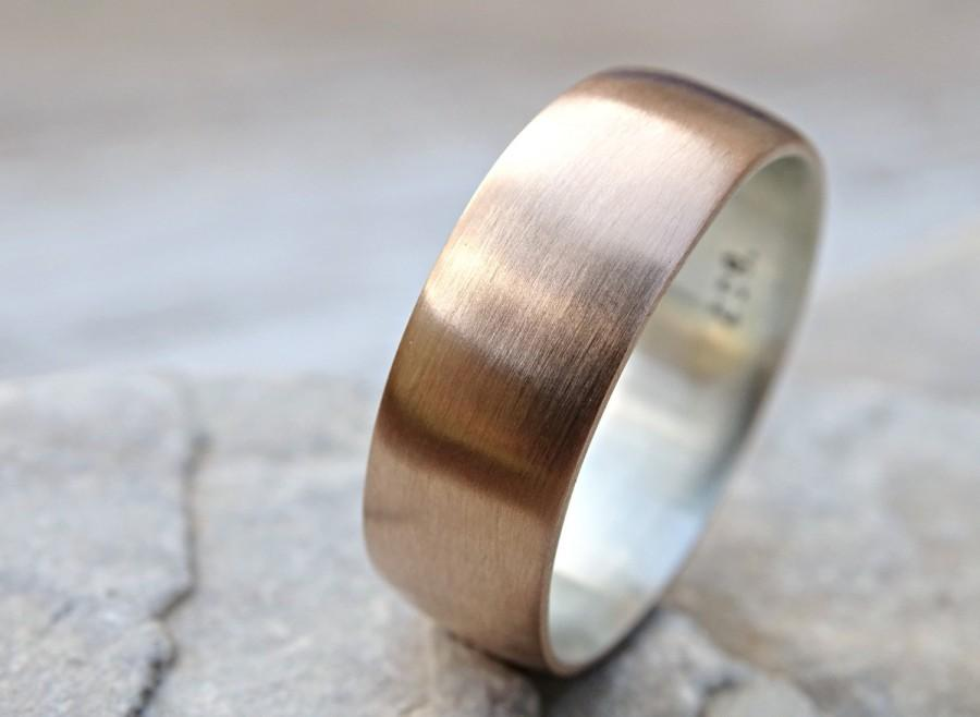 Wedding - mens bronze wedding ring, domed bronze ring silver, mens ring silver bronze, mens wedding band mens ring mixed metal bronze anniversary gift