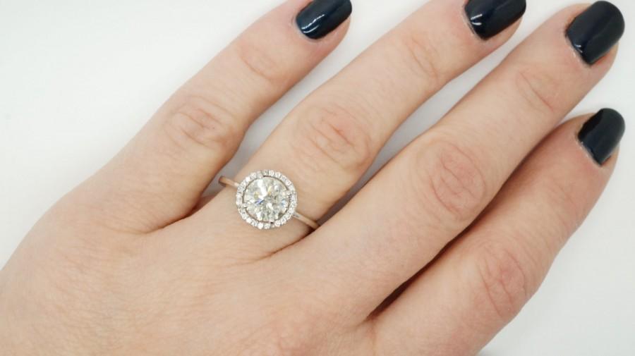 Wedding - ON SALE!!!1.67 ct Diamond Engagement Ring-White Gold Ring-Engagement Ring-promise ring-halo diamond engagement ring- Anniversary Gift