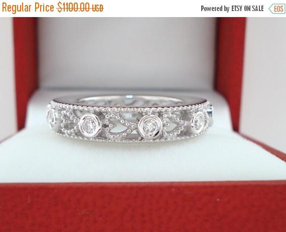 Wedding - ON SALE Wedding & Anniversary Eternity Diamond Band 14K White Gold 0.35 Carat heart Love design handmade unique
