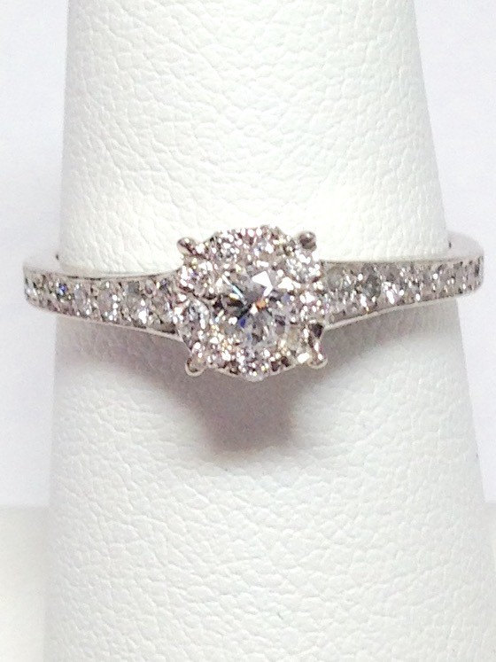 Свадьба - 0.55CT Diamond Engagement Ring Art Deco Halo Band Promise Solitare Wedding Rings Anniversary Bands Platinum 18K 14K White, Yellow, Rose Gold