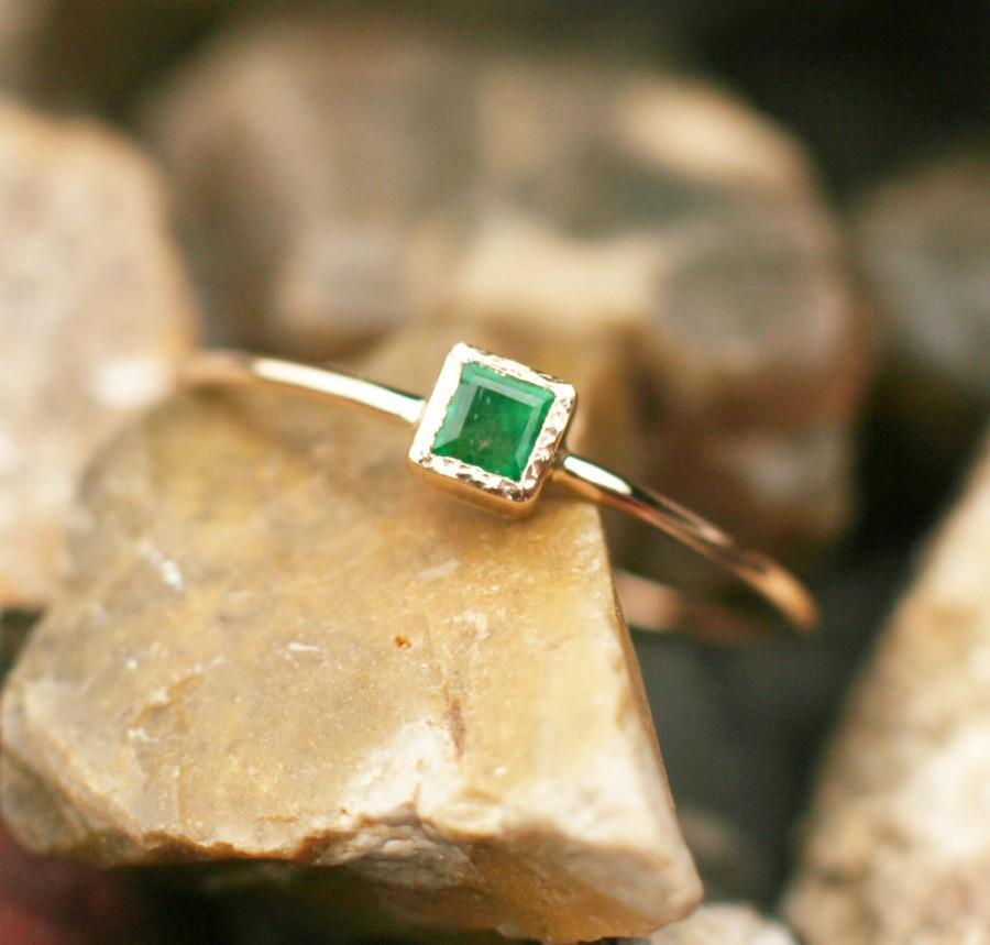 Свадьба - Natural emerald ring, natural emerald engagement, 14k gold emerald ring, square emerald ring, green gemstone ring, handmade