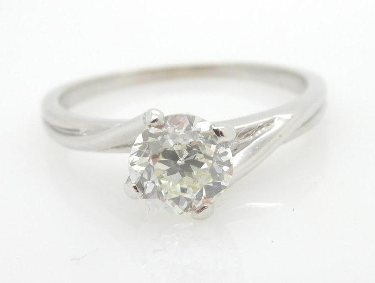 Wedding - Vintage 14k White Gold 0.99 Carat H-Si1 Round Brilliant Old Mine Cut Solitaire Engagement Ring; sku # 1543