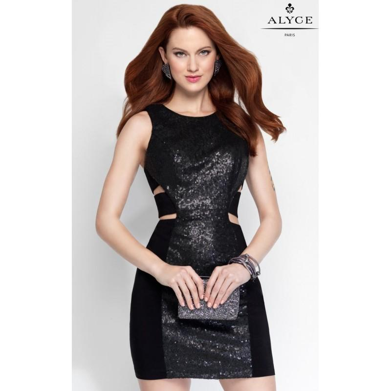 Wedding - Black Sequin Cocktail Dress by Alyce Homecoming - Color Your Classy Wardrobe