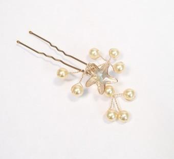 Wedding - Nautical Champagne Gold Starfish Beach Wedding Jewelry Hairpin, Beach Hair Jewelry, Champagne Hair Jewelry, Starfish Hair Jewelry