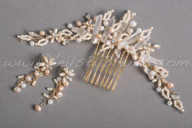 Mariage - Bridal Hair Comb, Raw Quartz Headpiece, Wedding Headpiece - Lynn