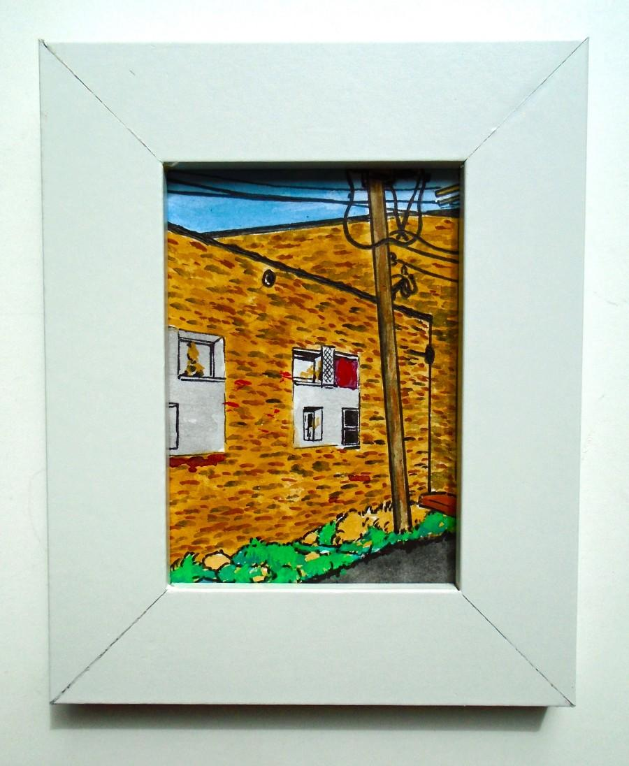chicago alley 224 original miniature painting 25 x 35 aceo in a 4 x 5 frame by mike kraus