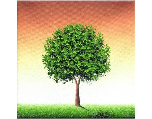 Tree Landscape Painting, Palette Knife Painting, ORIGINAL Oil Painting, Modern Minimalist Green ...