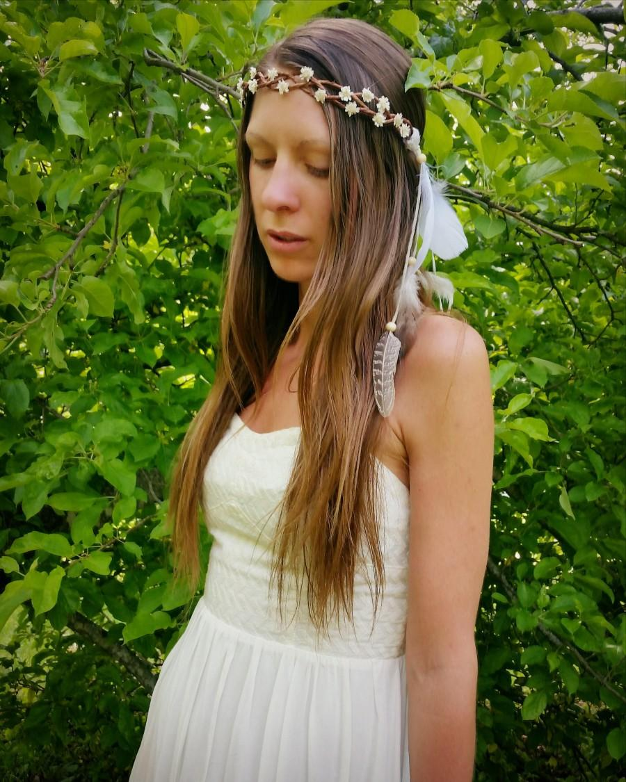 Flowercrown With Feathers Feather Headband Flower Crown Bridal