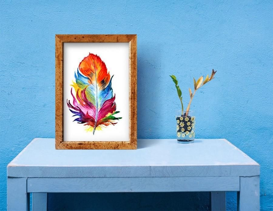 Hochzeit - Feather Digital Print  Multicolor Feather Watercolor Painting Feather Art  Feather Digital Download Wall Decor  Home Decor  Instant Download