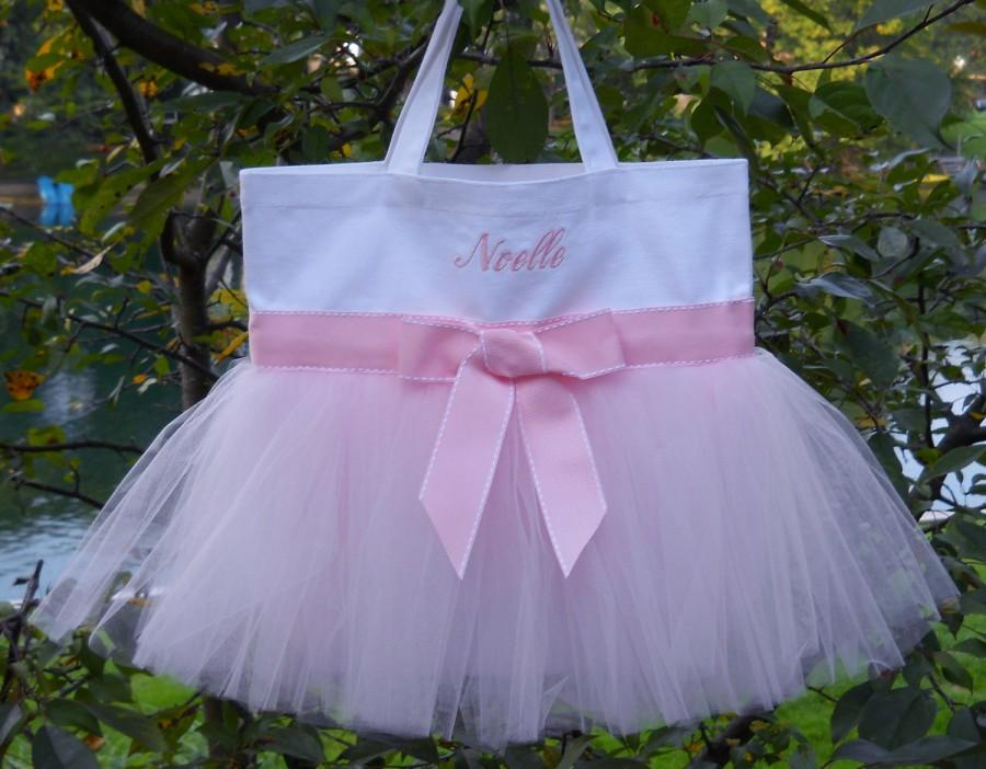 Hochzeit - Dance bags, ballet bag, personalized tote bag, Embroidered Dance Tutu Bag, MINI White Bag, Naptime 21, Tutu Tote Bag MTB014 BP