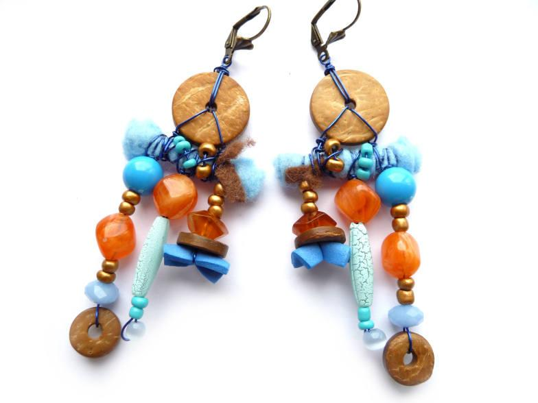 Hochzeit - Ethnic Earrings, Boho Earrings, Boho Rustic Earrings, Rustic Earrings, Tribe Earrings, Blue Earrings, Orange Earrings, Blue Orange, Earrings