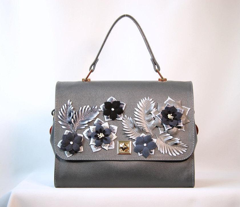 Wedding - Leather bag, handmade bag, women bag,grey bag, flower bag, leather bag for women, women present, classical bag, casual bag, leather bag