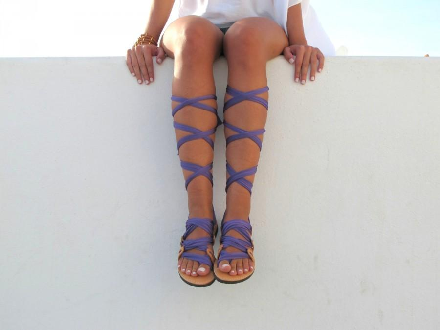 """Wedding - Lace up sandals, Customizable, Choose scarf laces from 20 colors and leather footbed from 6 colors  """"ATHENA"""" - Free standard shipping"""